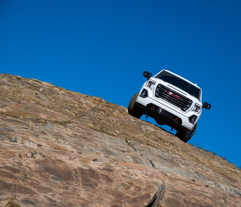 GMC Sierra AT4 upgrades include 2-in. factory lift, off-road-tuned shocks, skid plates.
