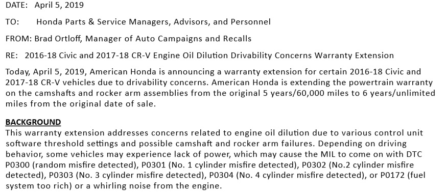 Honda Extends Warranty to Address 1 5L Gas-Oil Dilution