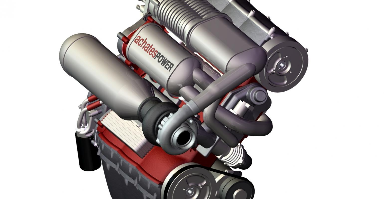 Supercharged Achates 2stroke Features Two Horizontally Opposed Pistons Per Cylinder And Crankshafts