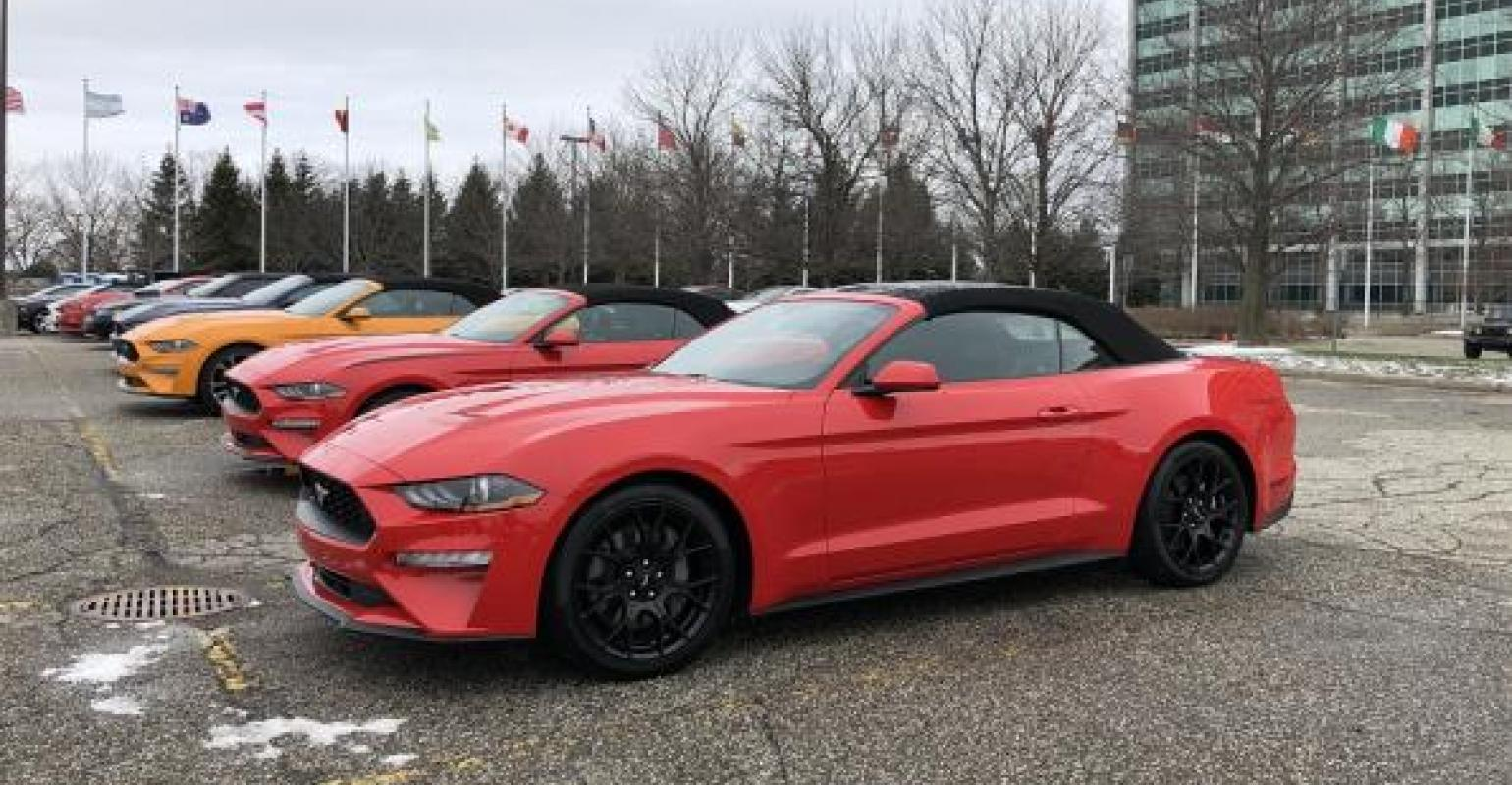 4c18be7c2 Tops up on Mustang convertibles at chilly 54th anniversary of iconic pony  car at Ford World