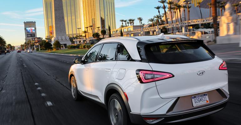 2019 Hyundai Nexo rear and pillar