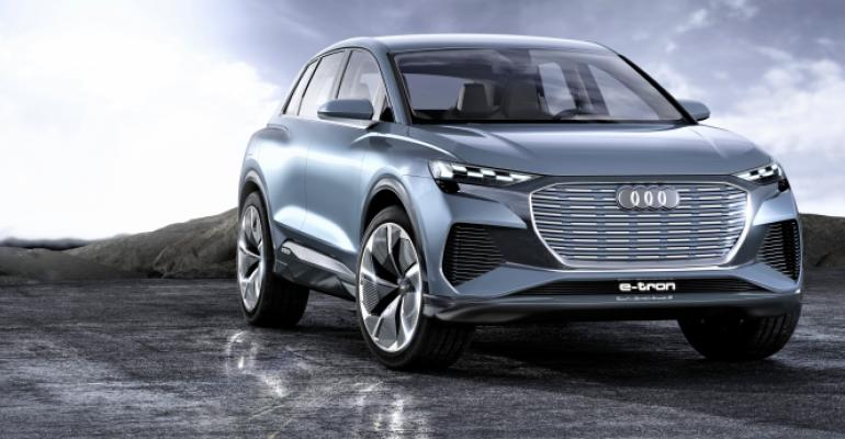 "Audi claims 302 hp, 339 lb.-ft. of torque, ""over 280 miles"" of range for Q4 e-tron."