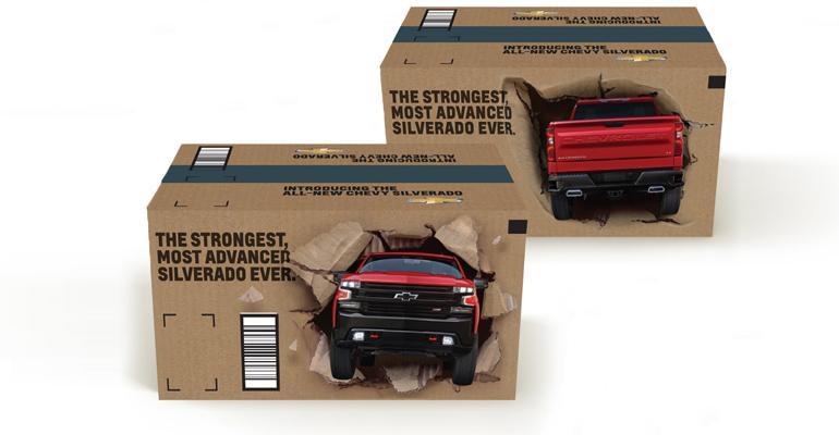 Silverado ad blitz includes 7.1 million Amazon shipping boxes.
