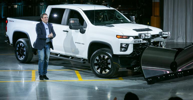 GM President Reuss at Flint Assembly with 2020 Chevy Silverado 2500HD.