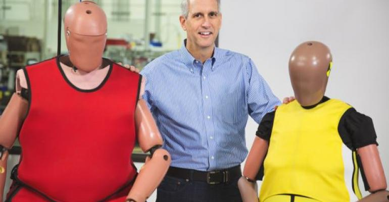 O'Connor with new-generation crash test dummies.