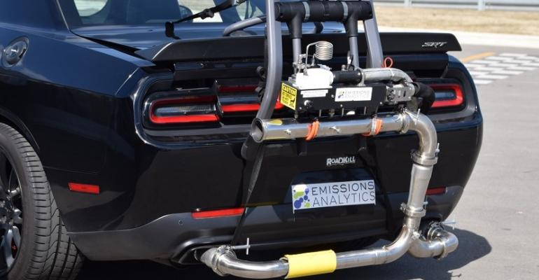 Emissions Analytics demonstrates real-world tailpipe testing equipment in Detroit.