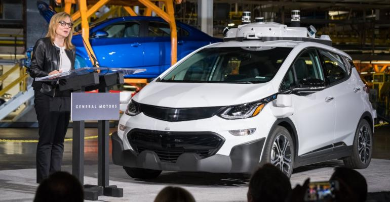GM CEO Barra at 2017 introduction of autonomous Chevrolet Bolt electric vehicle.