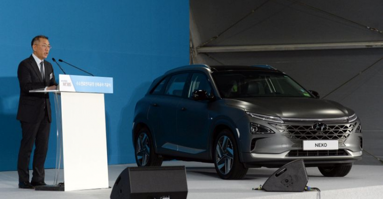 New Hydrogen Council co-chair Chung with Hyundai Nexo FCEV.