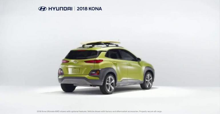 Top-ranked Hyundai ad touts lease deal on '18 Kona.