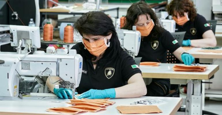 Lamborghini upholstery workers producing surgical masks.jpg