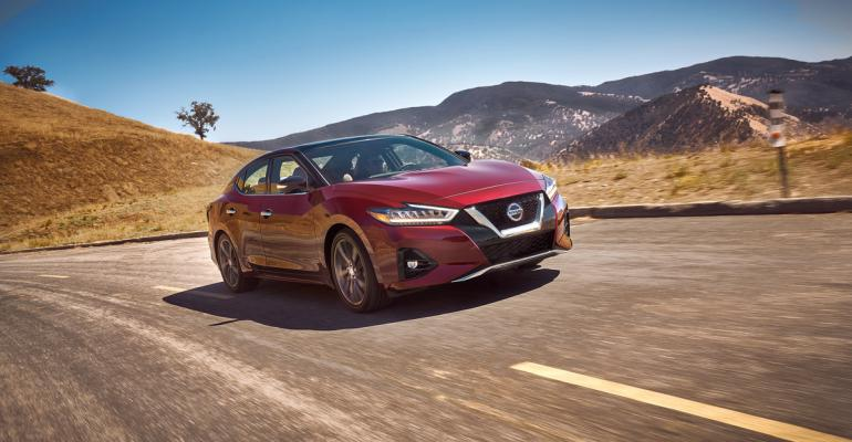 "'19 Nissan Maxima gets even larger ""V-Motion"" grille, with styling cues that flow into hood and down body."