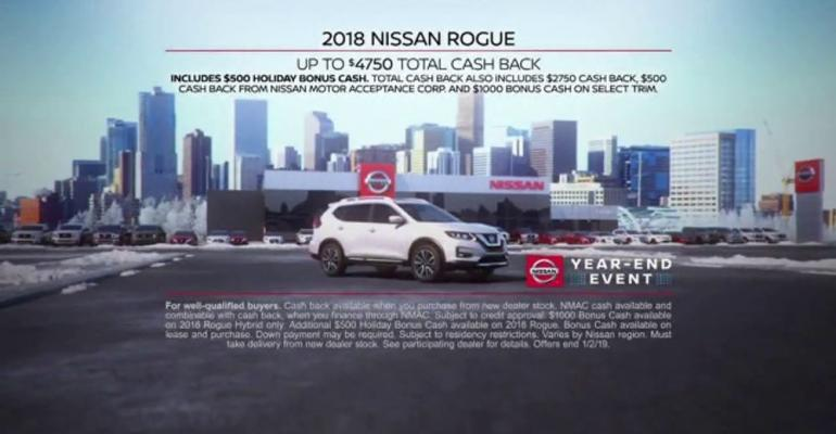 Rogue among models highlighted in Nissan's year-end-sale ad.