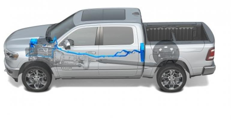 Ram's eTorque mild-hybrid option combines 5.7L V-8 with lithium-ion battery.