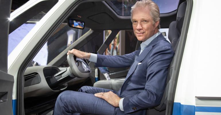 Scott Keogh behind the wheel of electric van