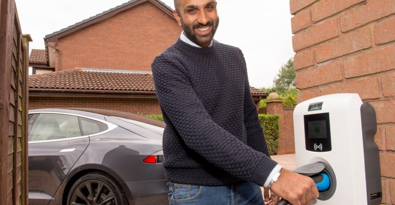 Electric Nation EV home smart charger installed for trial participant Sunny Vara.