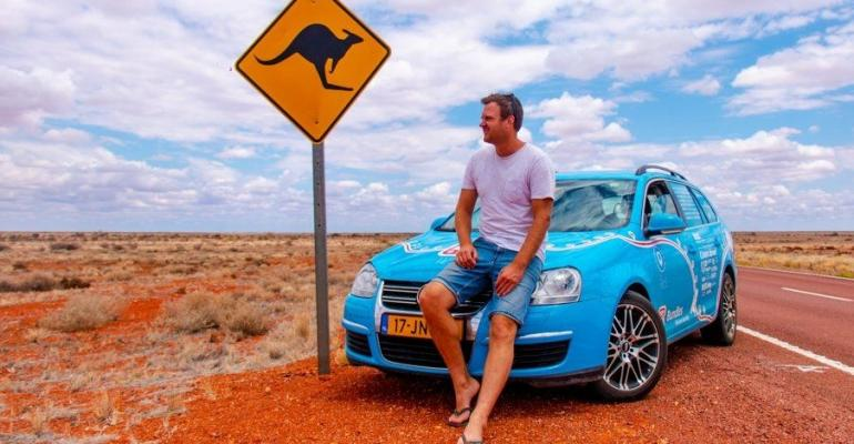 Wakker and Blue Bandit in Australian outback.
