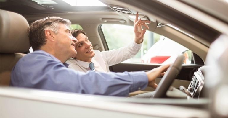 Customer and auto salesperson
