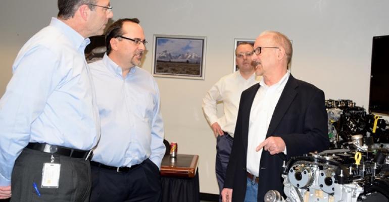 Ford engineers Pete Pandolfi and Scott Makowski talk with WardsAuto39s Drew Winter