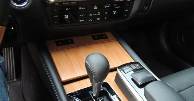 Bamboo wood trim accents Lexus GS 450h center console