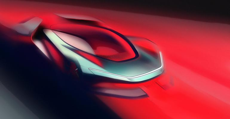 Automobili Pininfarina PF0 concept sketch.