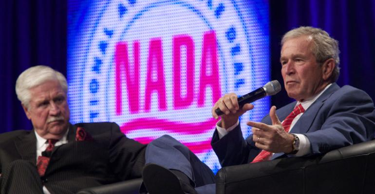 President Bush answers questions from former NADA Chairman Stephen W Wade at this yearrsquos convention NADA photo