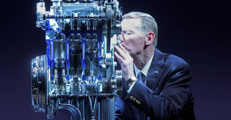Ford CEO Alan Mulally gives kiss to auto makersrsquo innovative 10L EcoBoost engine