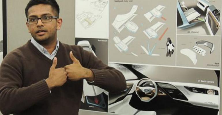 Finalist Merrill Mathew explains his concept for 2025 midsize sedan interior