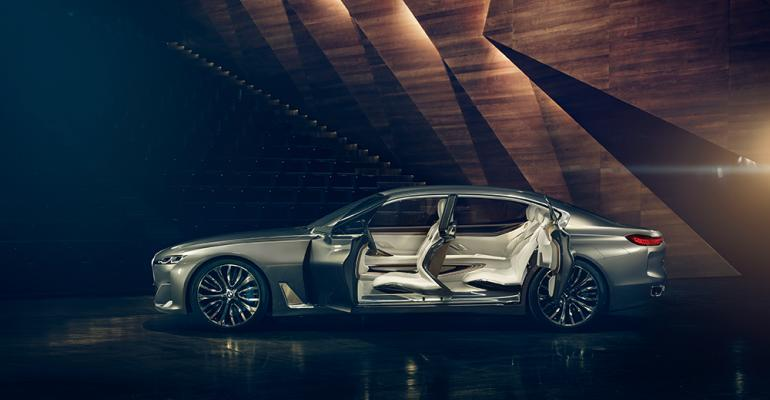 Carbonfiber Bpillars allow Vision Future Luxury concept to open wide