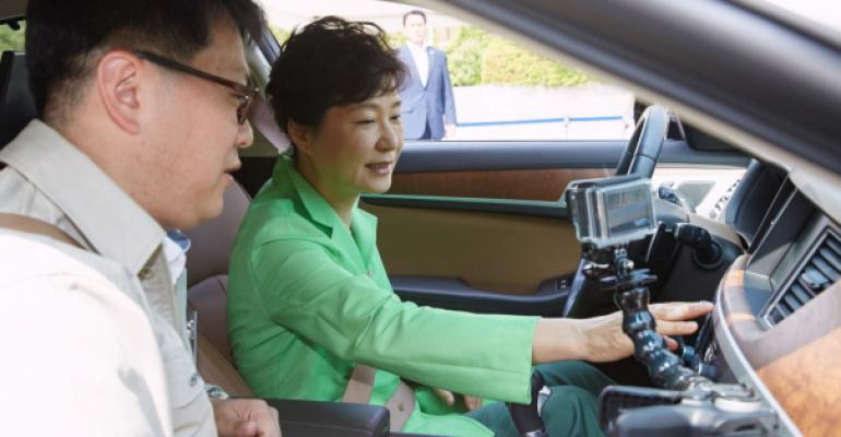 Park inspects semiautonomous car technology in Hyundai Genesis test vehicle