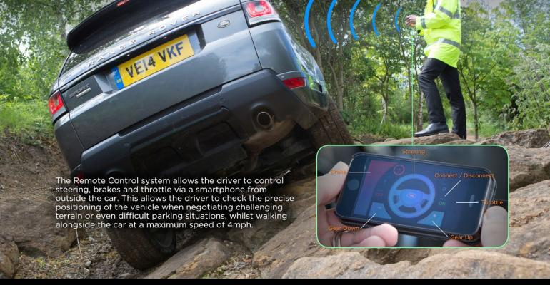 Remote control Range Rover Sport research vehicle demonstrates how driver could operate vehicle from outside car using smartphone