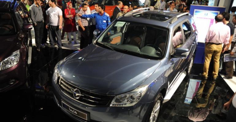Locally assembled Chinese Haima S7 displayed at Mashhad auto show