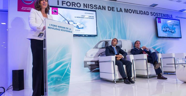 Spanish Industry Minister Cristeto announces EV subsidy program with Nissan Iberia CEO Toro center and Madrid Region Environment Minister Gonzalez right