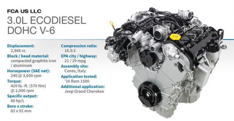 2016 Winner: FCA 3.0L Turbodiesel DOHC V-6   WardsAuto