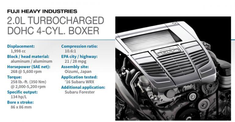 2016 Winner: Subaru 2.0L Turbocharged DOHC H-4