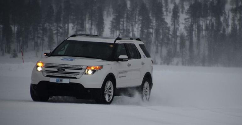 Ford Explorer demo vehicle with ZF TRWrsquos IBC system drives across frozen lake in Sweden