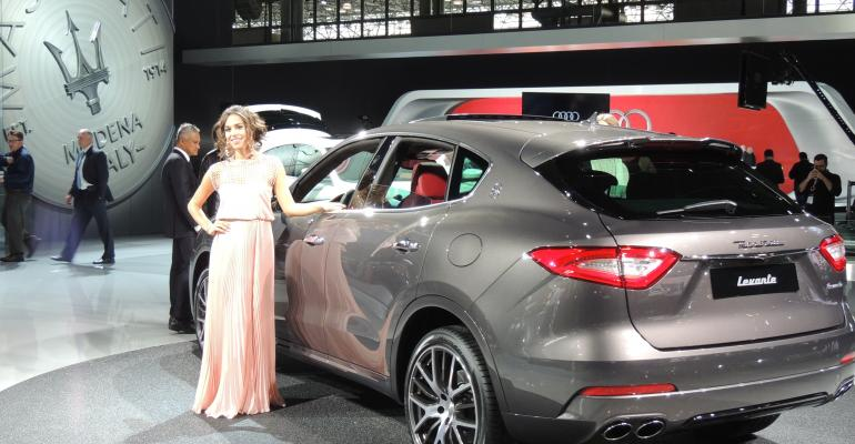 In its modelwithmodel autoshow tradition Maserati shows its Levante in New York