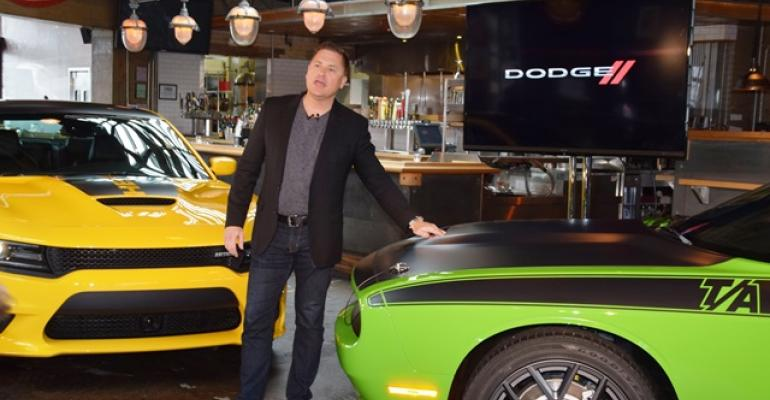 Tim Kuniskis unveils rsquo17 Dodge Charger Daytona left and Challenger TA along Woodward Dream Cruise route
