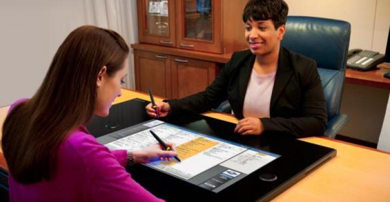 DocuPAD resembles a supersized touchscreen computer tablet intended to enable FampI managers to engage more with customers