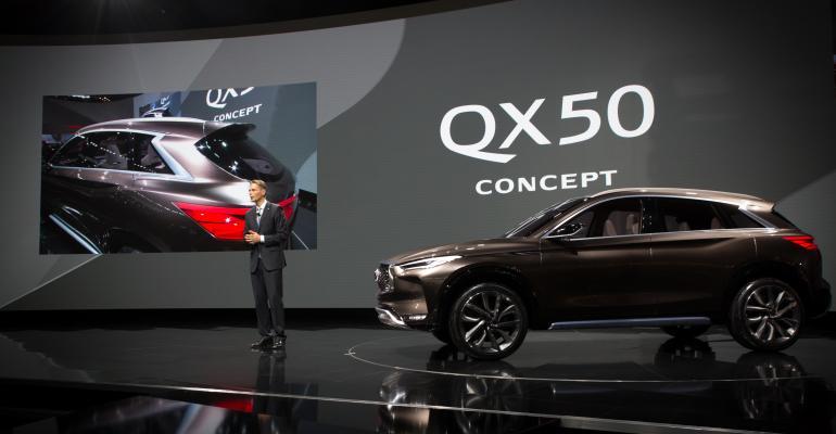Infiniti President Roland Krueger unveils QX50 concept in Detroit