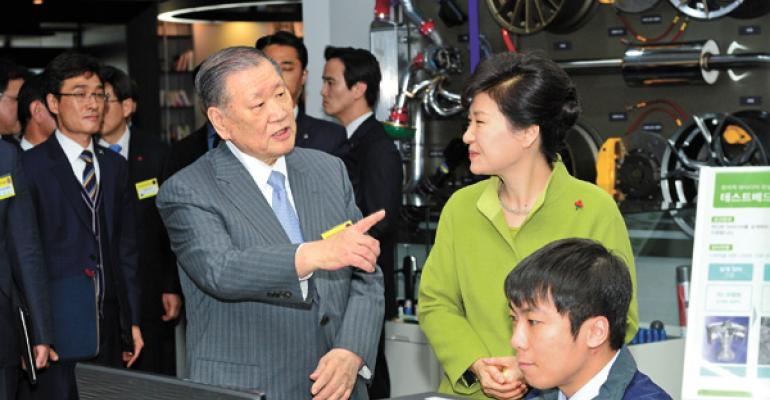 Hyundairsquos Mong discusses fuelcell vehicles with former South Korean President Park in 2015