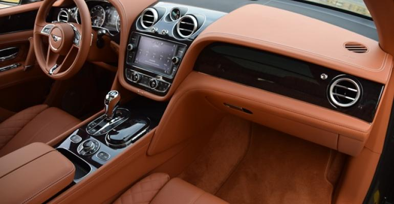 Swoopy lines of Bentayga instrument panel flow like wings of an eagle