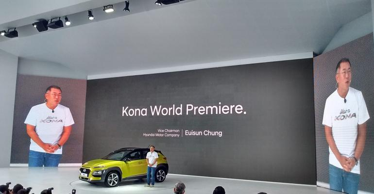 Hyundai Vice Chairman Chung addresses media at Kona unveiling