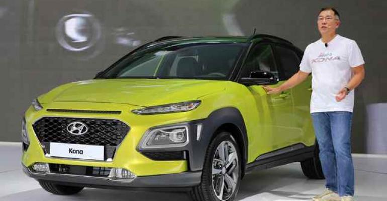 Hyundai Vice Chairman Euisun Chung unveils Kona at Hyundai Motorstudio in Goyang northwest of Seoul