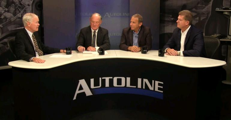 From left Autoline Spotlight participants John McElroy Steve Finlay George Glassman and Doug Timmerman