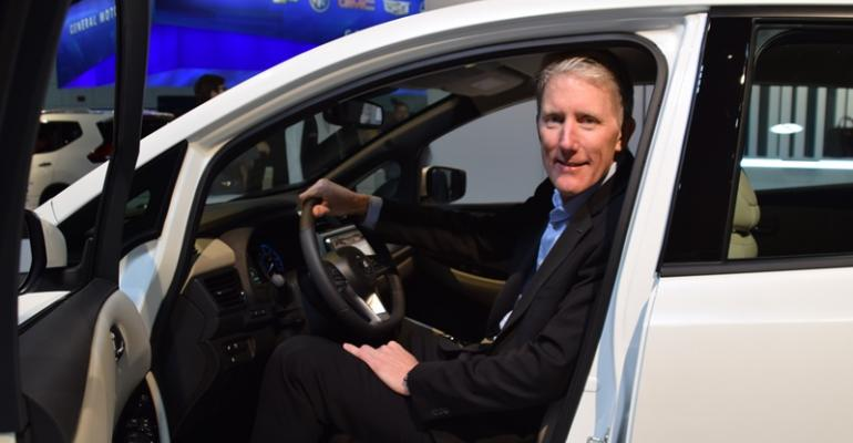 Nissanrsquos Reed in driver39s seat of allnew Leaf at TIM conference in Detroit