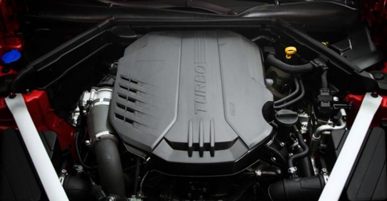 New Hyundai twinturbo V6 in engine bay of Kia Stinger