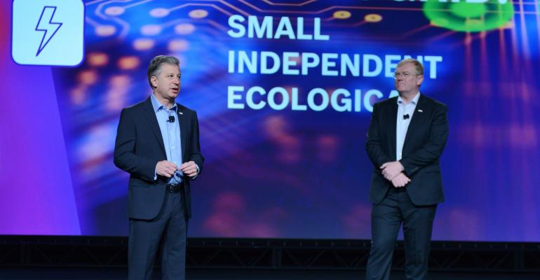Bosch executives Mike Mansuetti left and Stefan Hartung delivering CES Monday keynote