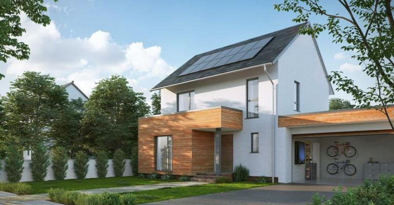 Panels on roof collect solar energy for overnight electricvehicle charging