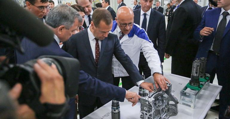 Russian Prime Minister Medvedev visits Volkswagen engine plant in Kaluga Russia