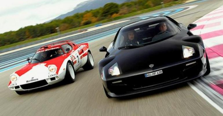 Original Stratos left and new model more than 40 years later